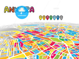 Ankara, Turkey, downtown map in perspective