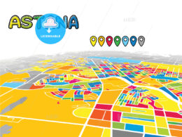 Astana, Kazakhstan, downtown map in perspective