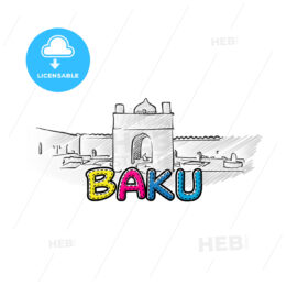 Baku beautiful sketched icon