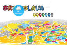 Bratislava, Slovakia, downtown map in perspective