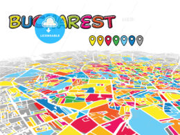 Bucharest, Romania, downtown map in perspective