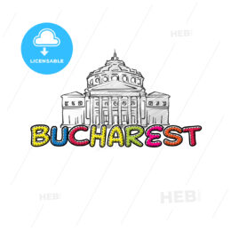 Bucharest beautiful sketched icon