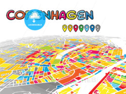 Copenhagen, Denmark, downtown map in perspective