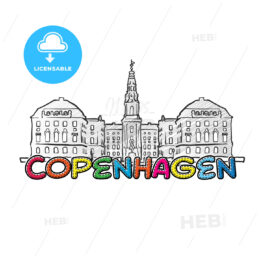 Copenhagen beautiful sketched icon