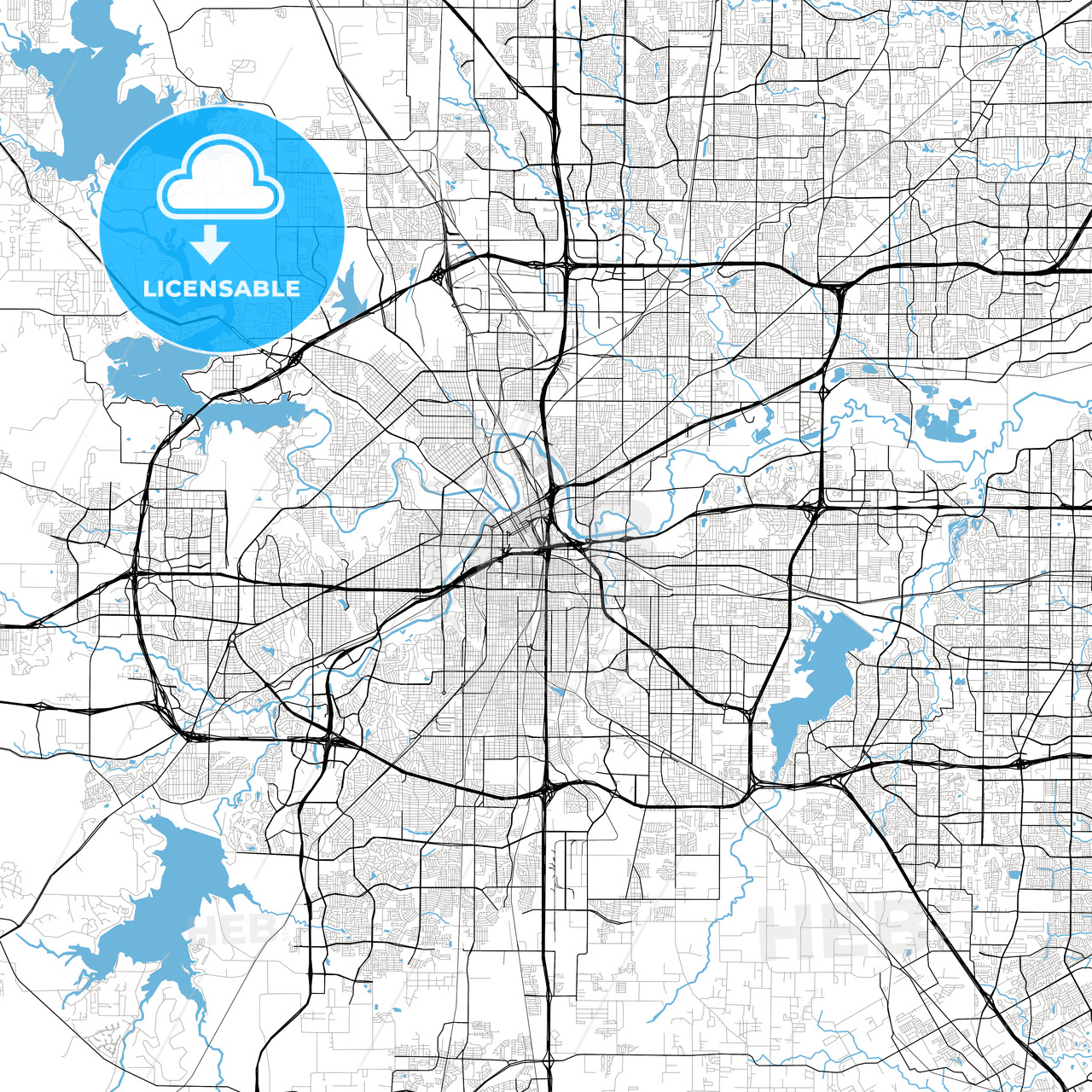 Fort Worth High Resolution Vector Map   HEBSTREITS Sketches