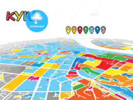 Kyiv, Ukraine, downtown map in perspective