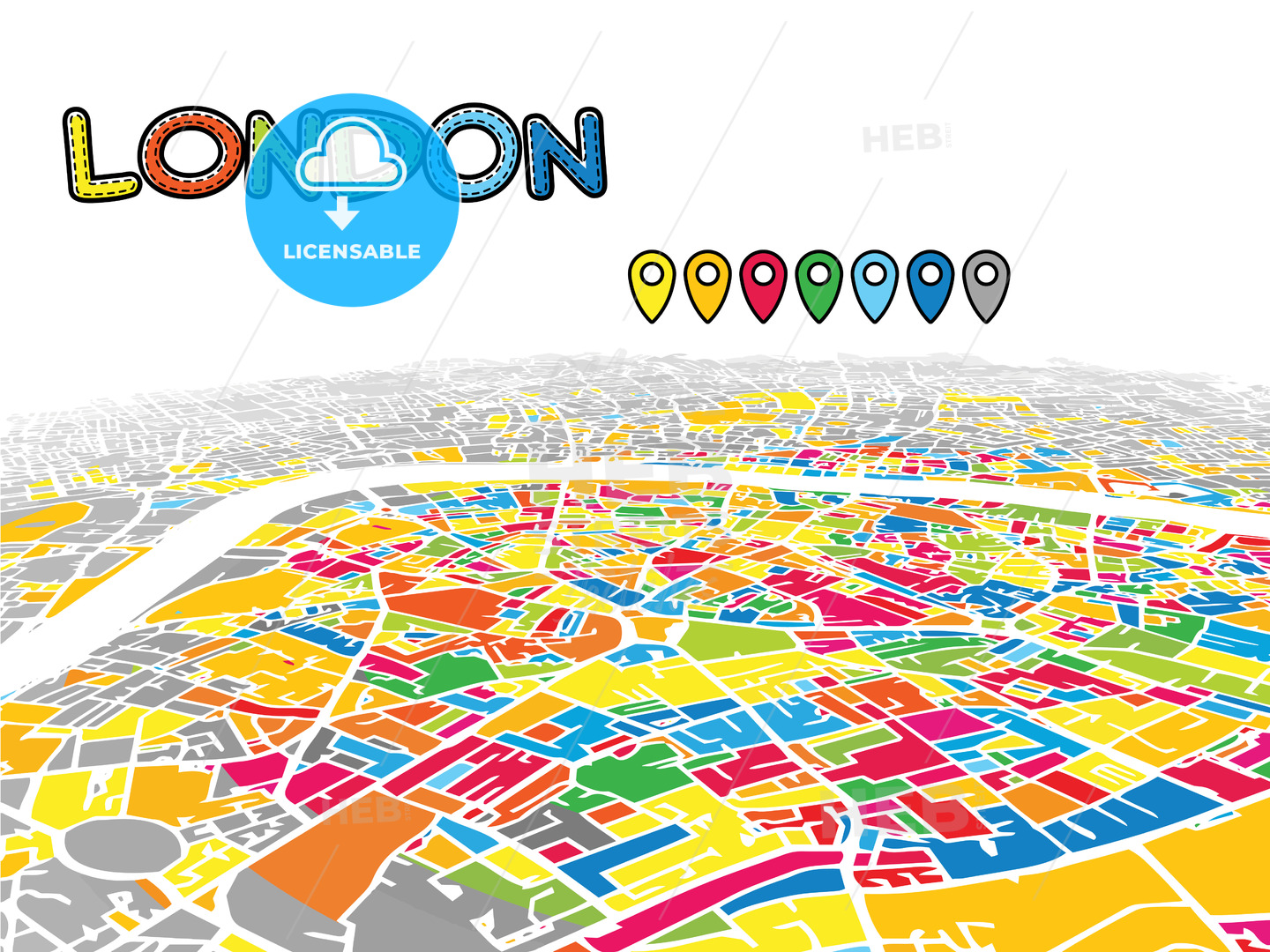 Downtown London Map.London United Kingdom Downtown Map In Perspective