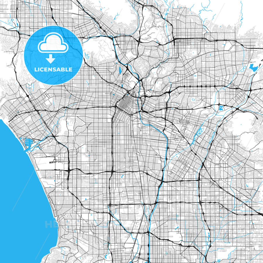 Los Angeles rich detailed Vector Map - HEBSTREITS Sketches