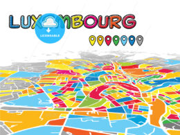 Luxembourg downtown map in perspective