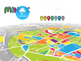Minsk, Belarus, downtown map in perspective