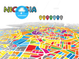 Nicosia, Cyprus, downtown map in perspective