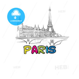 Paris beautiful sketched icon
