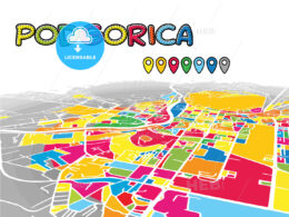 Podgorica, Montenegro, downtown map in perspective