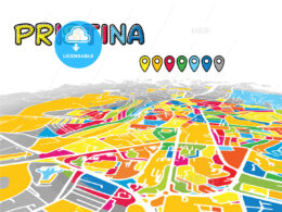 Pristina, Kosovo, downtown map in perspective