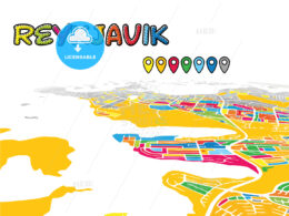 Reykjavik, Iceland, downtown map in perspective