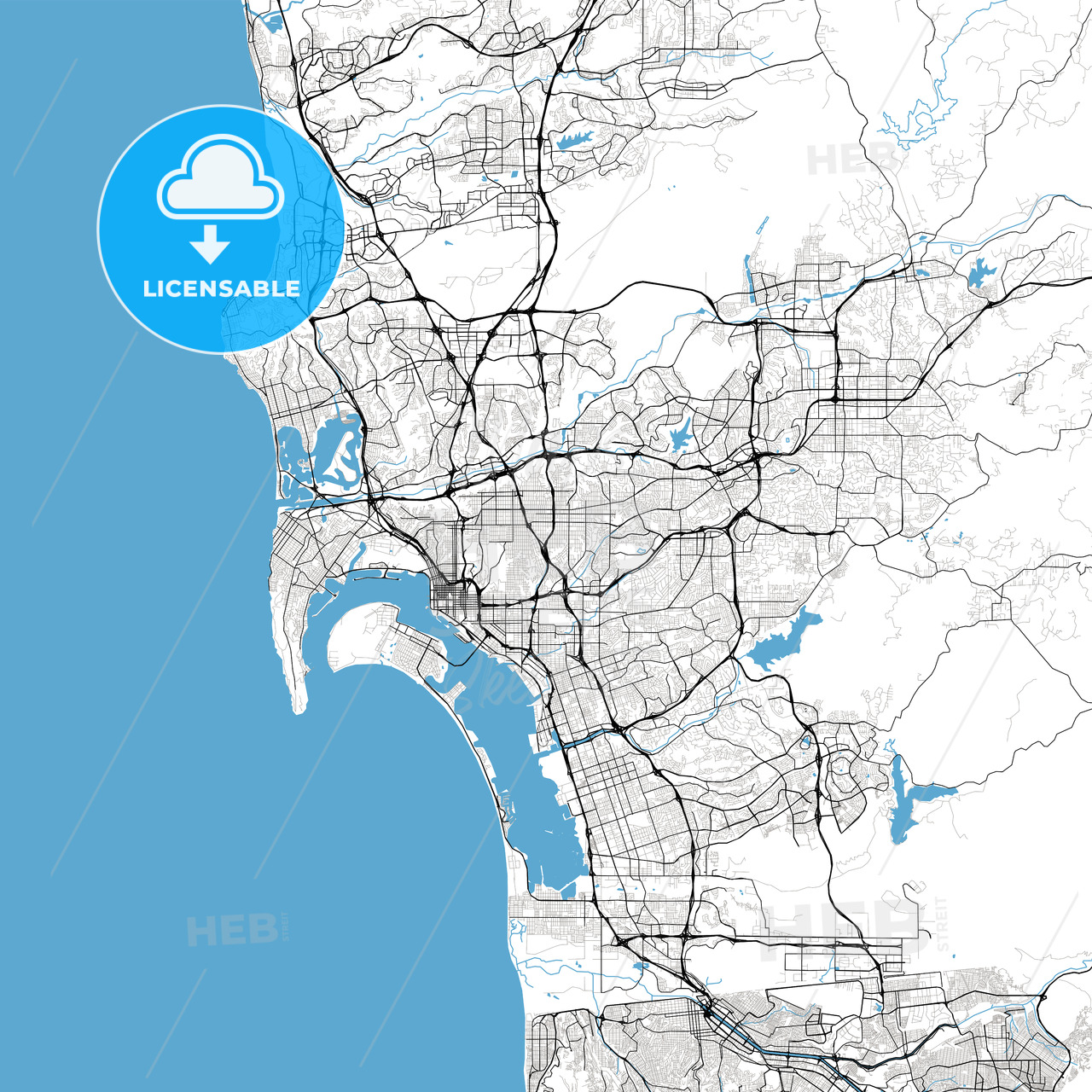 San Diego High Resolution Vector Map Hebstreits Sketches