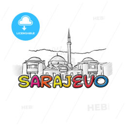 Sarajevo beautiful sketched icon