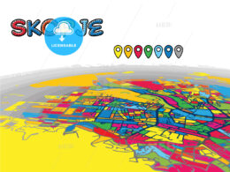 Skopje, Macedonia, downtown map in perspective