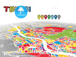 Tbilisi, Georgia, downtown map in perspective