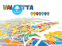Valletta, Malta, downtown map in perspective