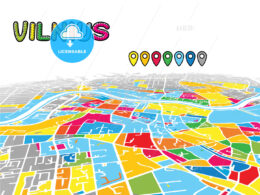 Vilnius, Lithuania, downtown map in perspective