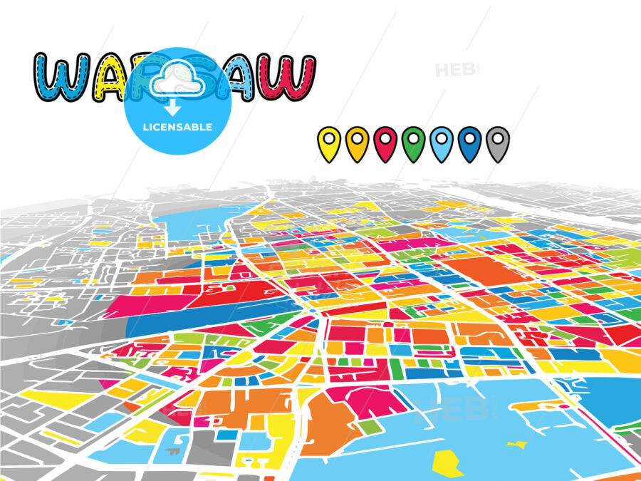 Warsaw, Poland, downtown map in perspective | HEBSTREITS Sketches