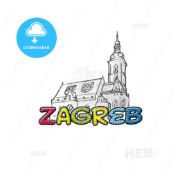 Zagreb beautiful sketched icon