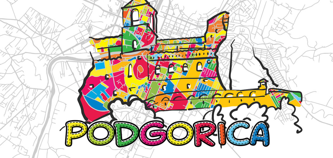 Podgorica, Montenegro, Colorful Map Sign, print design icon for Wall Art, Gift and Greeting Card