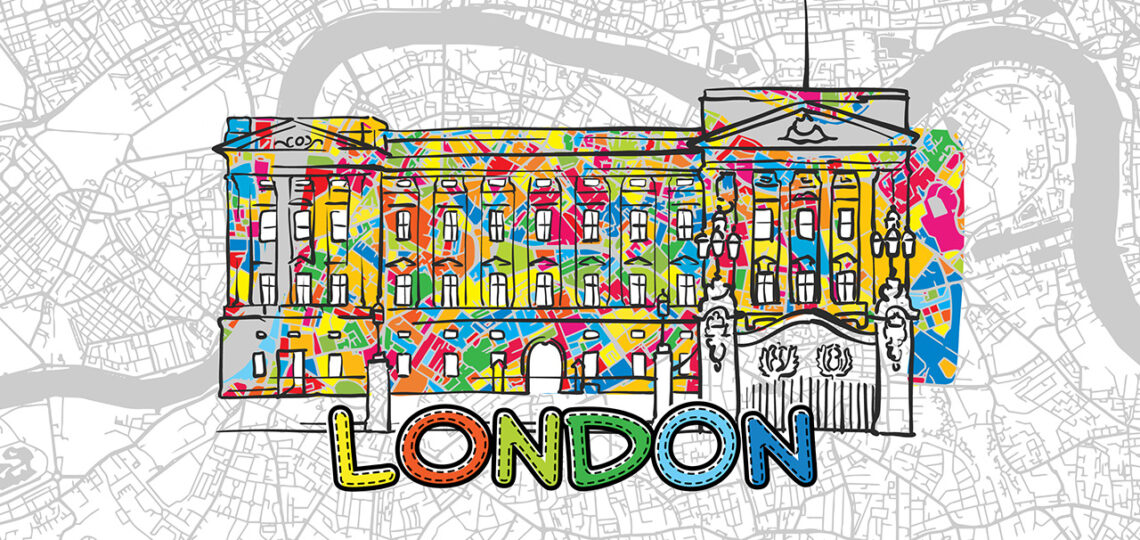 London, United Kingdom, Colorful Map Sign, print design icon for Wall Art, Gift and Greeting Card