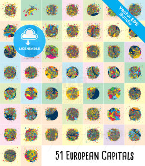 51 European Capital Cities, Colorful Artmaps Bundle - HEBSTREITS Sketches