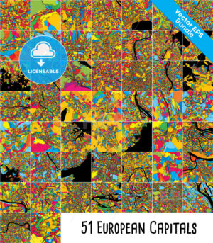 51 European Capital Cities, Colorful Maps Bundle - HEBSTREITS Sketches
