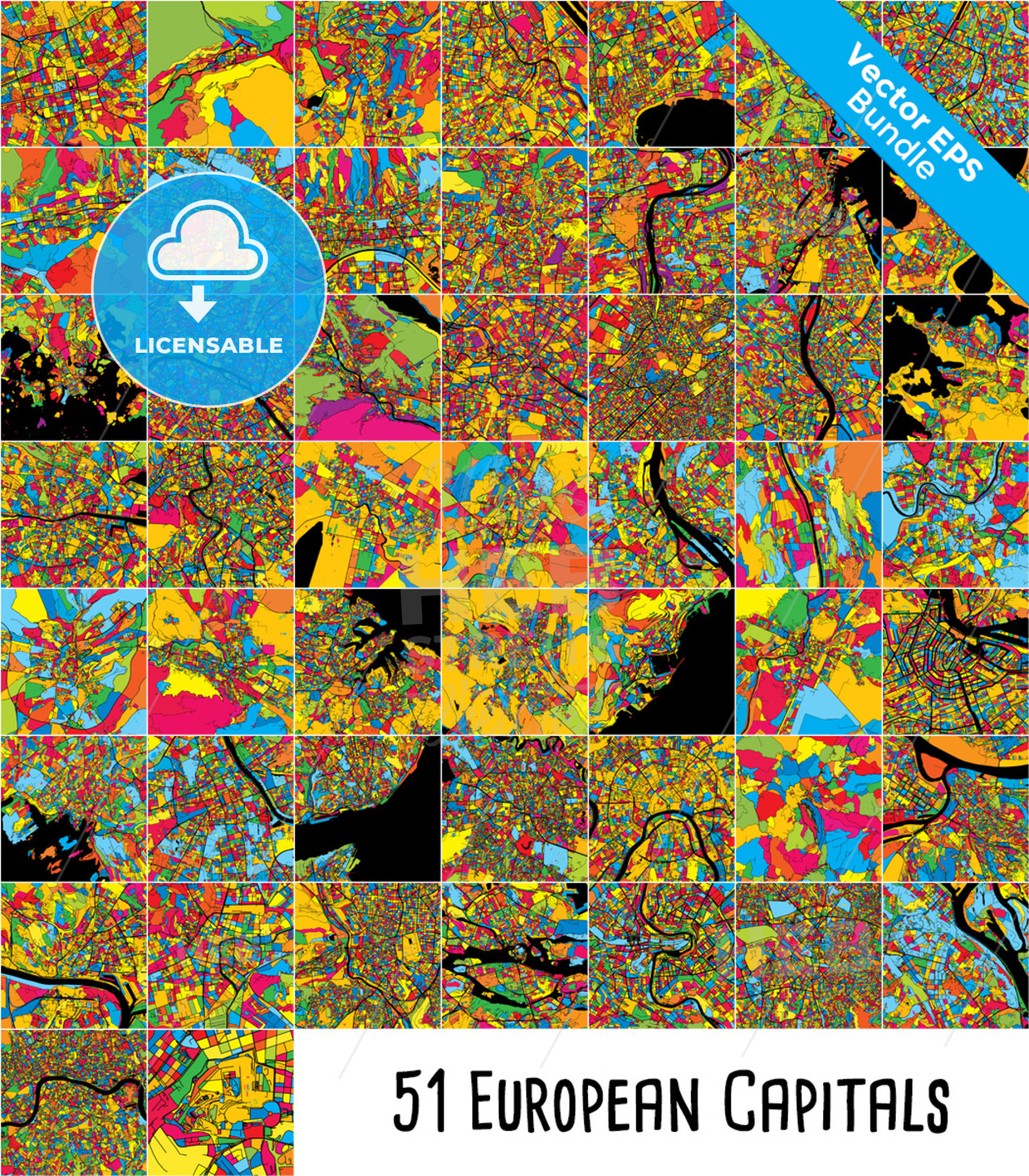 51 European Capital Cities, Colorful Maps Bundle - HEBSTREITS