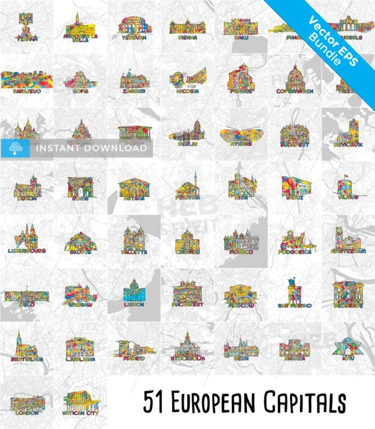 51 European Capital Cities, Famous Architecture and Maps. - HEBSTREITS