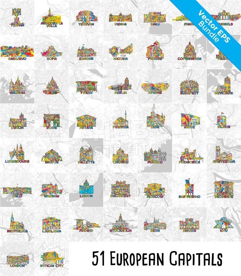 51 european capital cities famous architecture and maps hebstreits