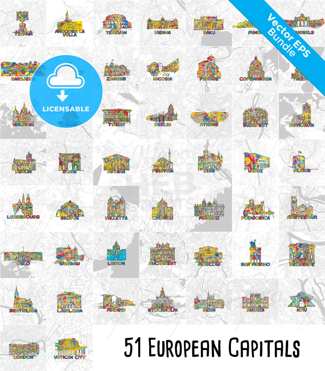 51 European Capital Cities, Famous Architecture and Maps. - HEBSTREITS Sketches