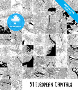 51 European Capitals Vector Maps Bundle - HEBSTREITS