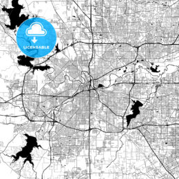 Fort Worth Monochrome Vector Map