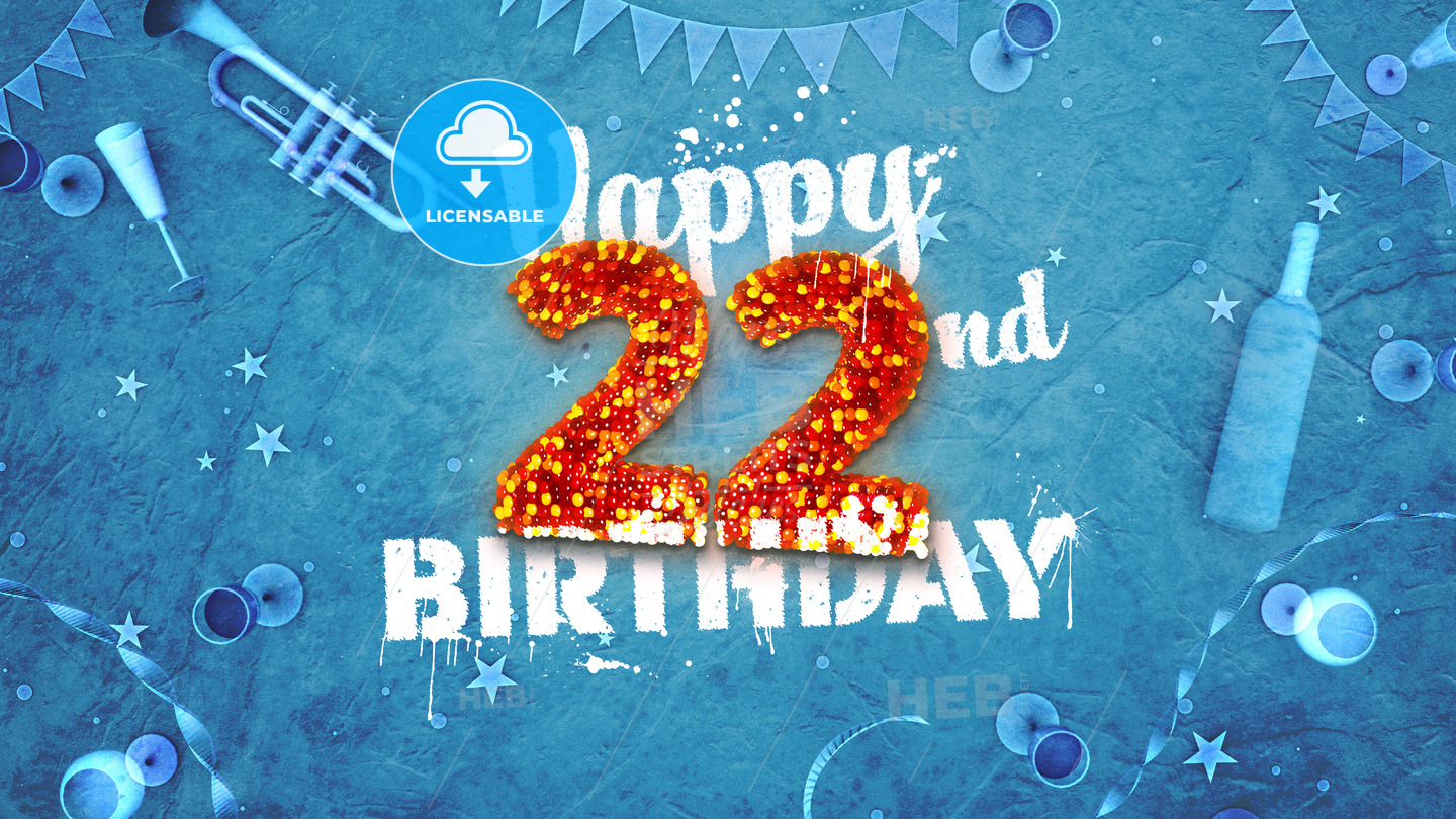 Happy 22nd Birthday Card With Beautiful Details Hebstreits