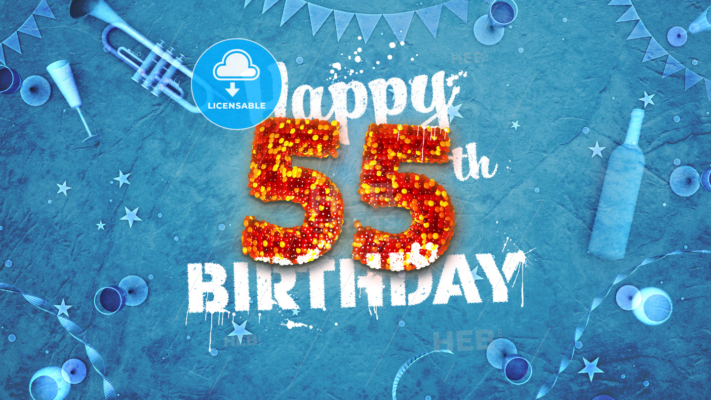 Happy 55th Birthday Card With Beautiful Details