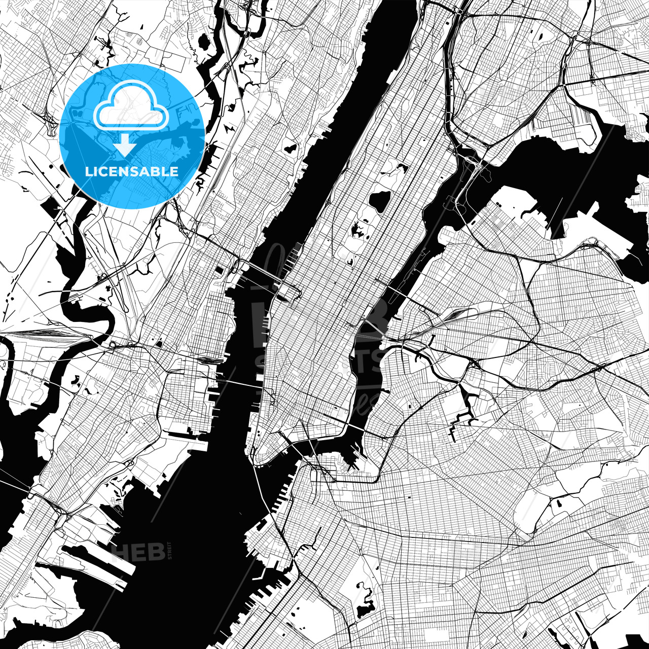 New York City Monochrome Vector Map Hebstreits Sketches