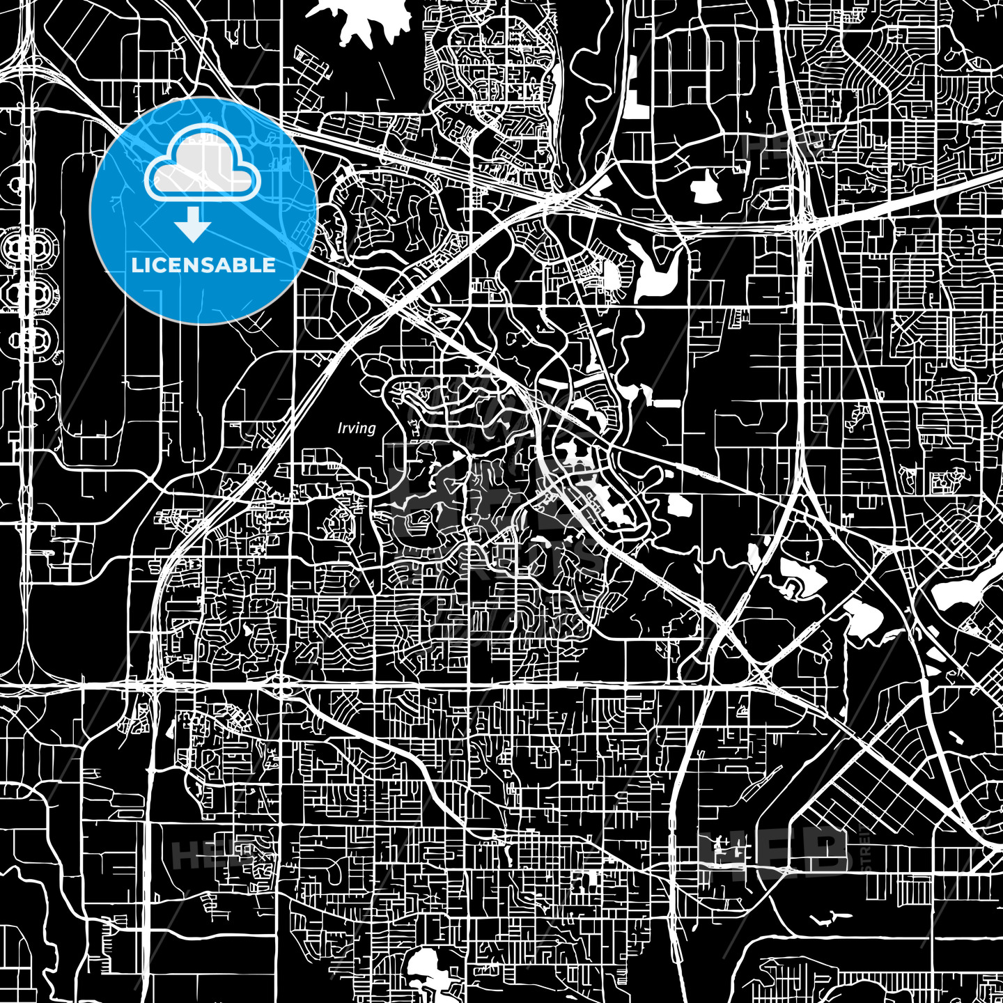 Irving, Texas, downtown map, dark   HEBSTREITS Sketches on