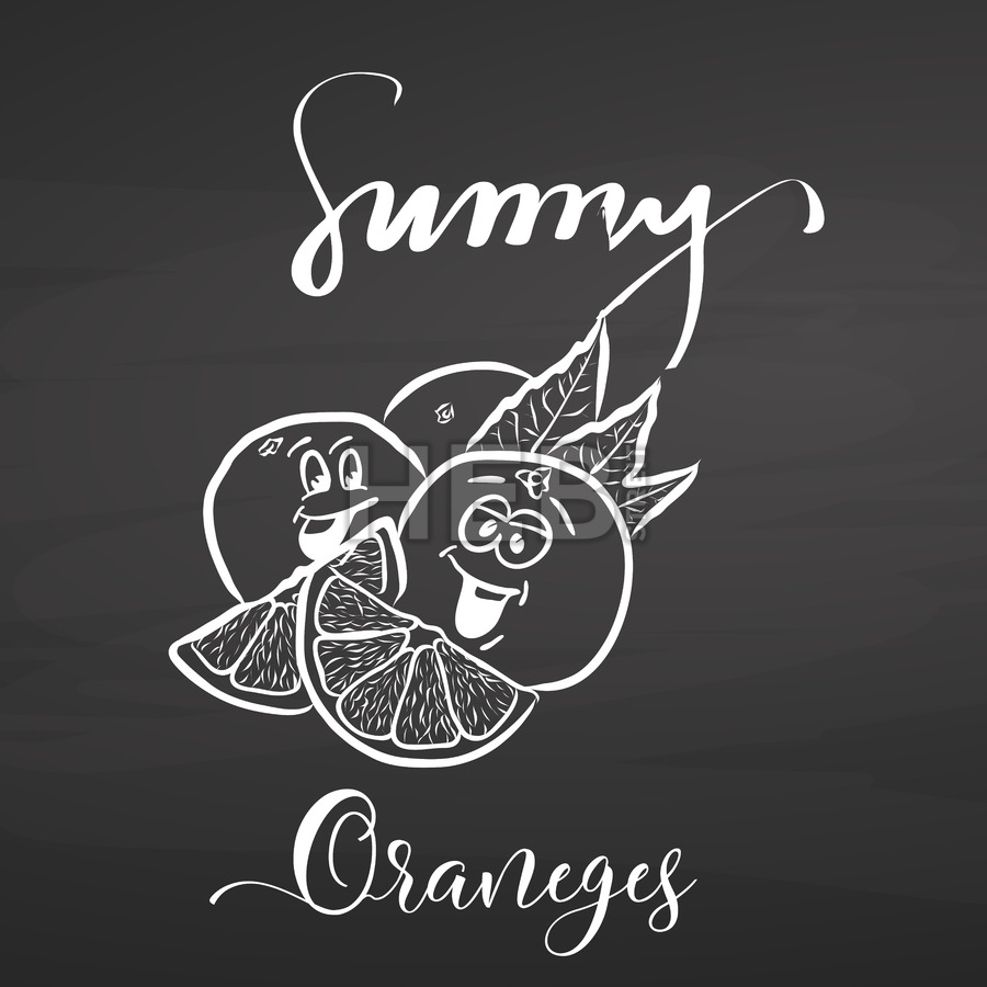 Sunny oranges with lettering on chalkboard