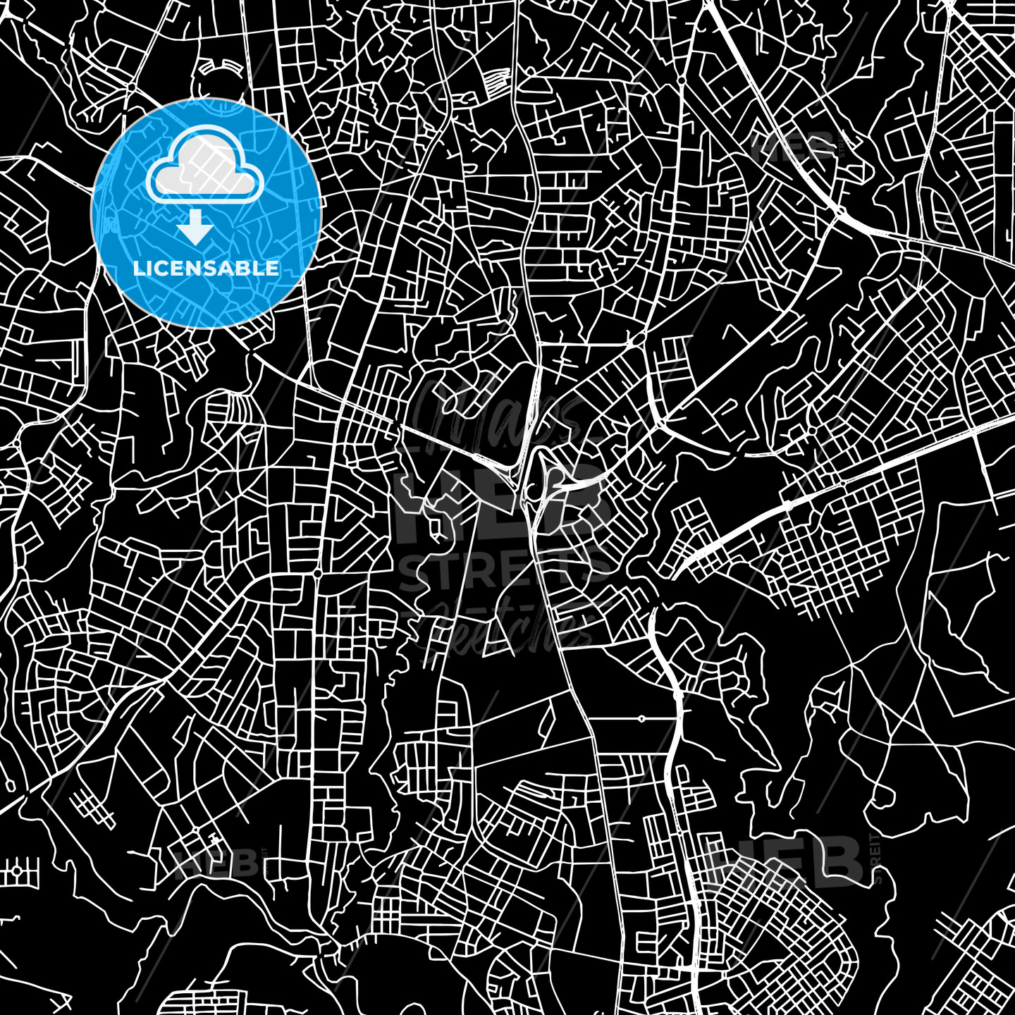 Addis Ababa, Ethiopia, downtown map, dark | HEBSTREITS