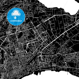 Baku, Azerbaijan, downtown map, dark