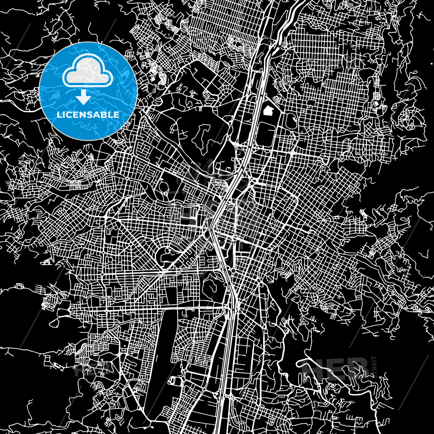 Medellin Colombia downtown map dark HEBSTREITS