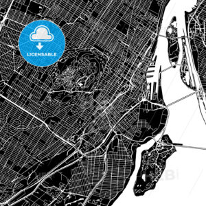 Montreal, Canada, Downtown Vector Map - HEBSTREITS