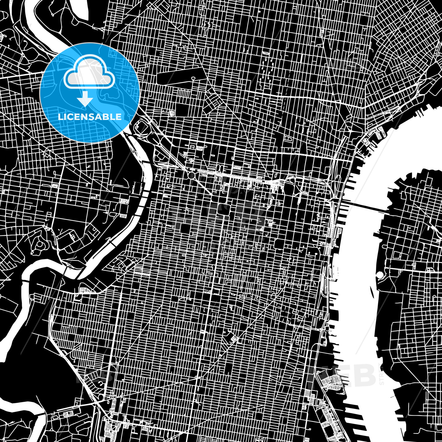 Philadelphia, United States, downtown map, dark | HEBSTREITS