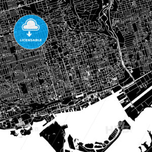 Toronto, Canada, Downtown Vector Map - HEBSTREITS