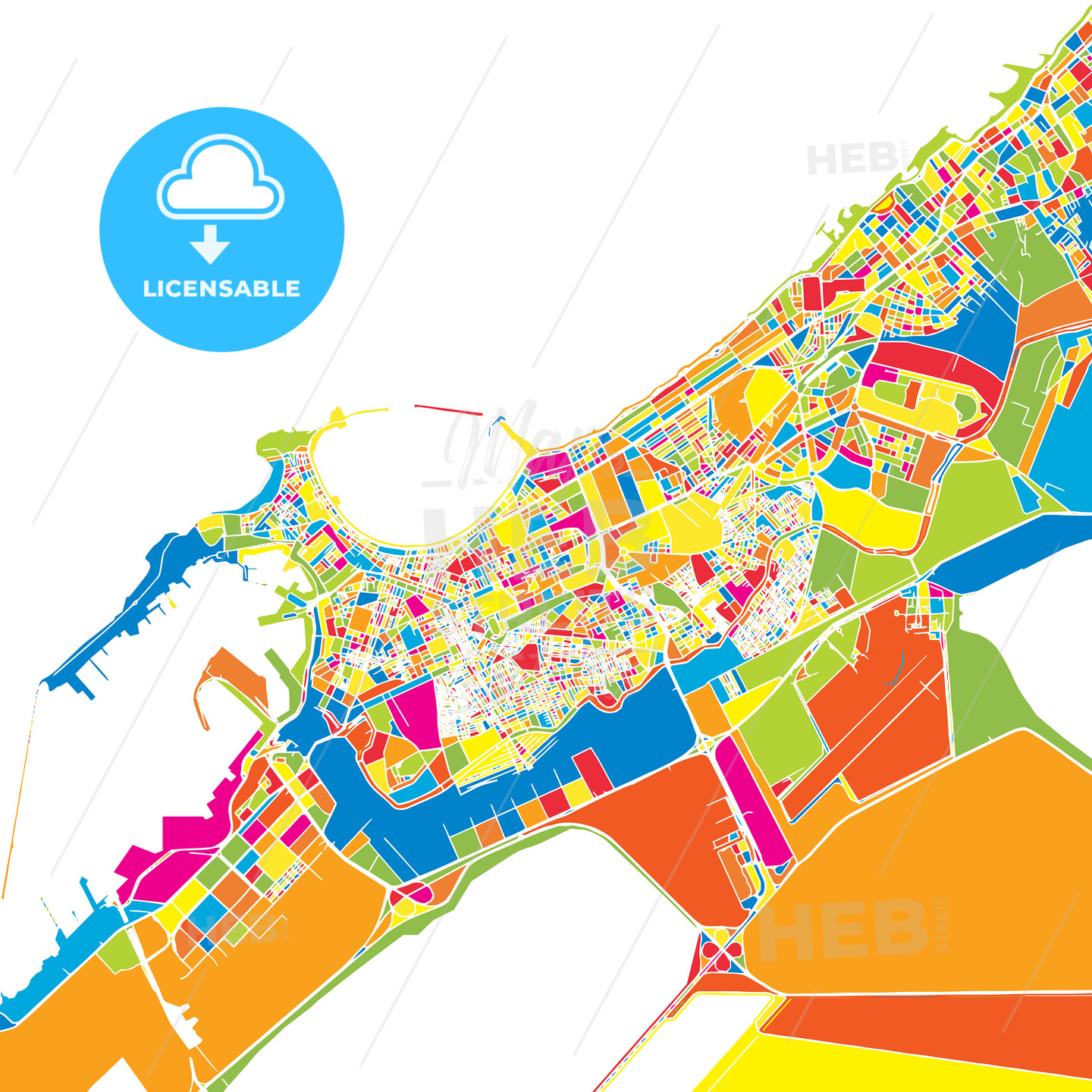 Alexandria, Egypt, colorful vector map | HEBSTREITS Sketches