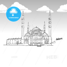 Ankara, Turkey famous landmark sketch